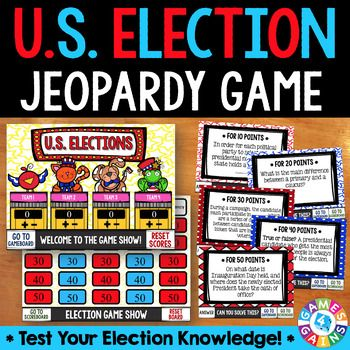 This U.S. Presidential Elections Jeopardy Game is perfect for reviewing the different phases of the presidential election during the final countdown to the election! This game includes questions about presidential eligibility, the primaries & caucuses, the conventions, voting in the general election, and more!