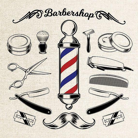 Vintage Barber Shop Printall The Tools A Barber Usesbarber Etsy Vintage Barber Barber Shop Decor Barber Shop