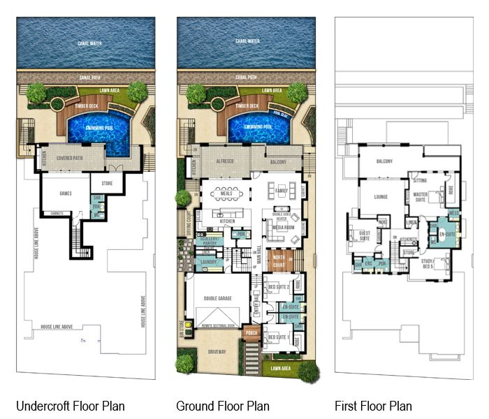 Reef three storey canal floor plans by Boyd Design Perth. Let's design your next home.