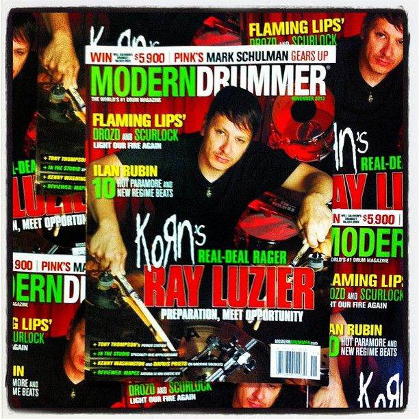 Korn drummer Ray Luzier on the November 2013 cover of Modern Drummer magazine, available now digitally (available in print Oct.1). #drums #drummer #drumming #Korn #RayLuzier #ModernDrummer #magazine #instagram