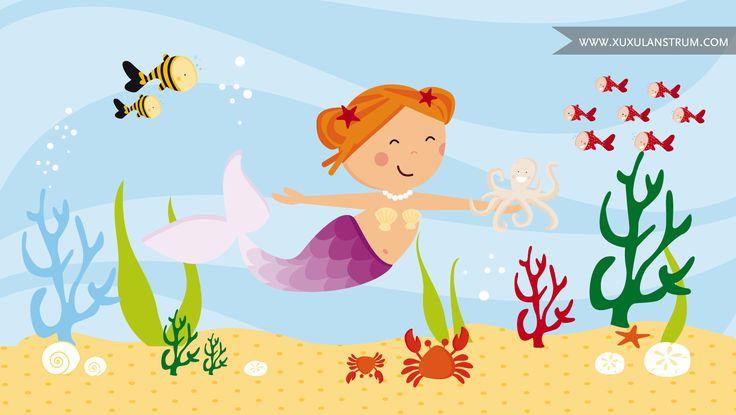Dibujo de un bella sirenita en el fondo del mar, para una App infantil de puzles que ilustramos por encargo.