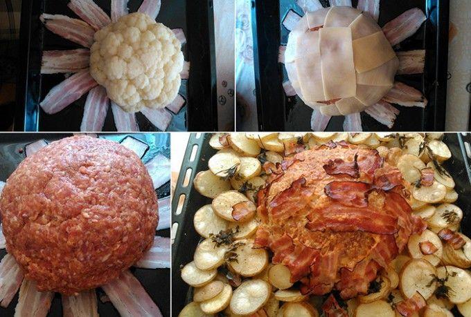 Slaný květákový dort s mletým masem, sýrem a slaninkou | NejRecept.cz