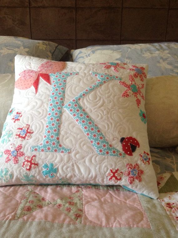 Butterfly Personalised initial cushion by QuiltedhugsbySue on Etsy, $35.00