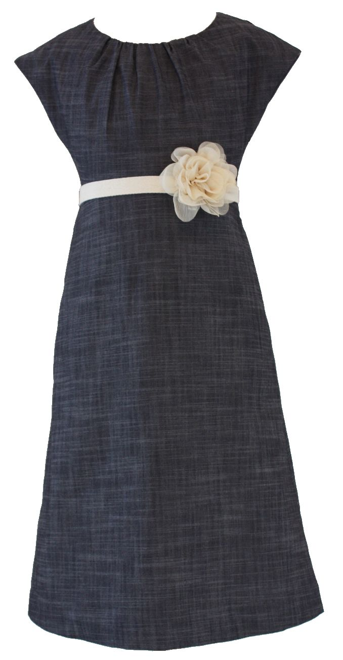 Chambray Flower Dress Front. This could also be a cute maternity dress.