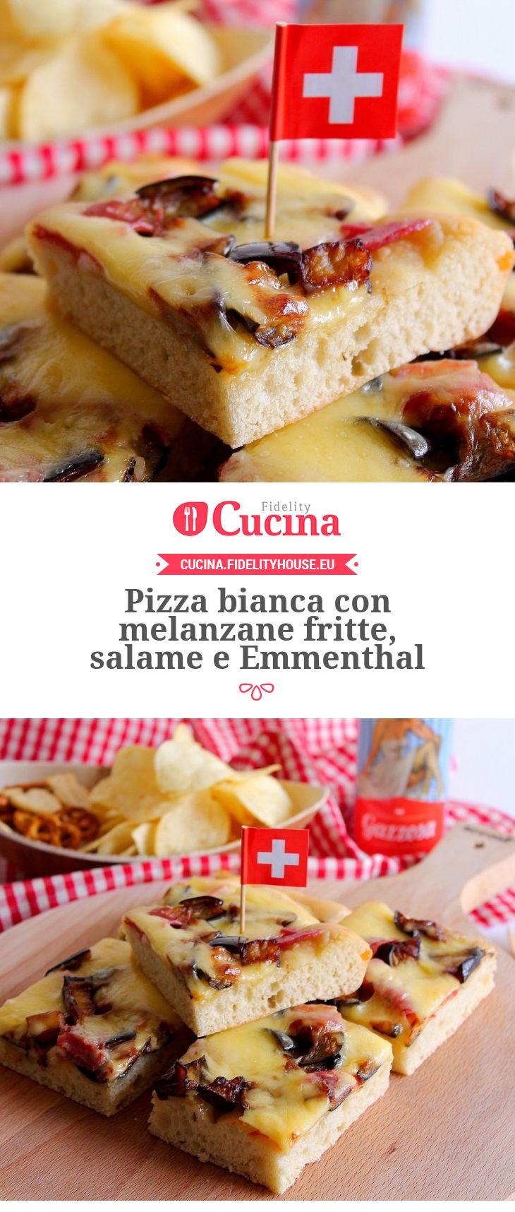 #Pizza bianca con #melanzane fritte, #salame e #Emmenthal della nostra utente Giovanna. Unisciti alla nostra Community ed invia le tue ricette!