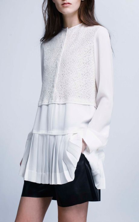 Derek Lam Geometric Lace Blouse With Pleated Hem