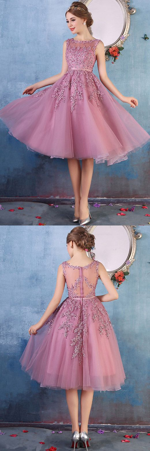 Short Prom Dresses Pink, Sexy Homecoming Dresses 2018, Modest Cocktail A-line Scoop, Tulle Graduation Dresses Beading Knee-length