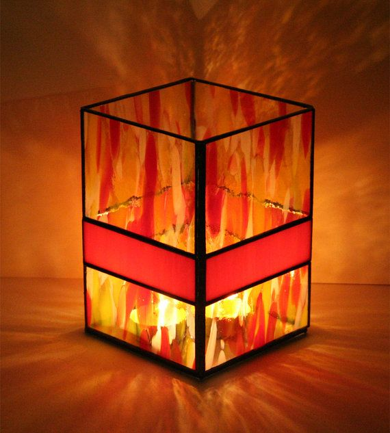 Stained Glass Candle Holder in Red Yellow and Orange by FormInFlux, $40.00