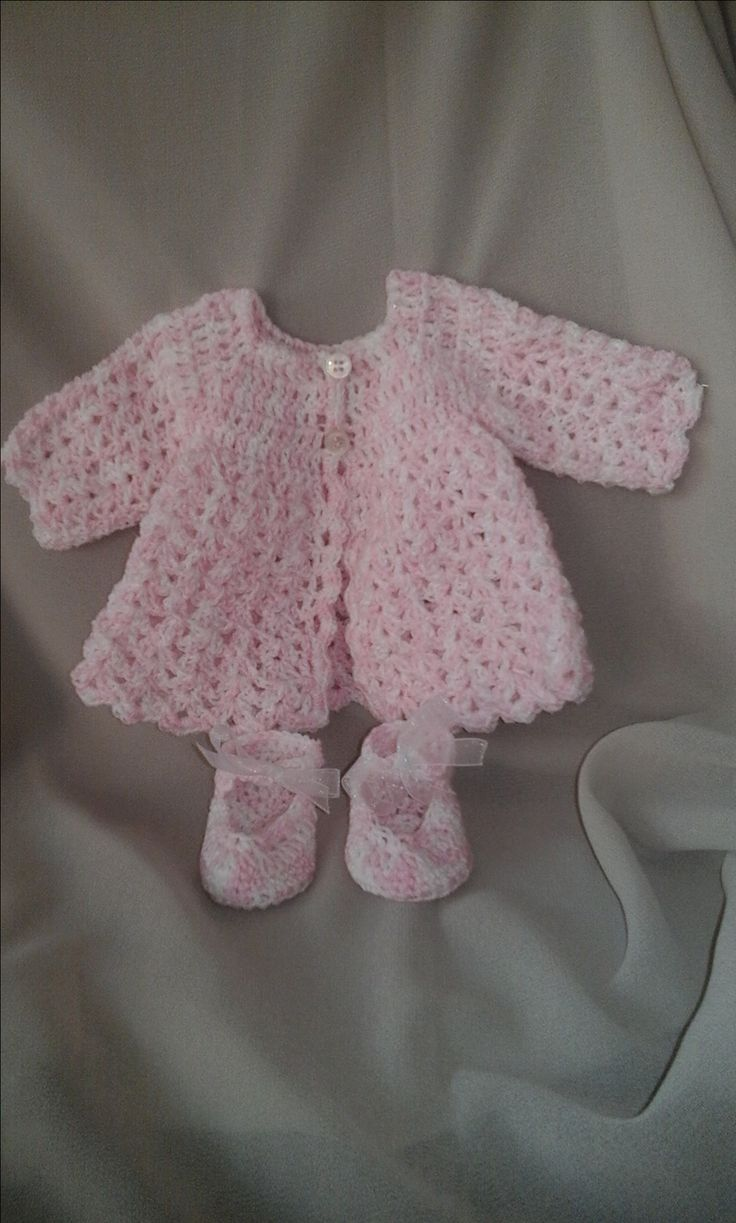 New  Born  Crochet  Matinee  Jacket  and  Shoes