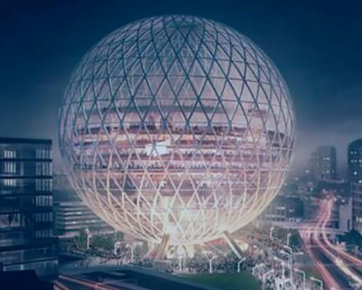 A 130-metre-tall spherical concert hall that could rise taller than St Paul's Cathedral, is being planned near the Olympic park in Stratford, east London.