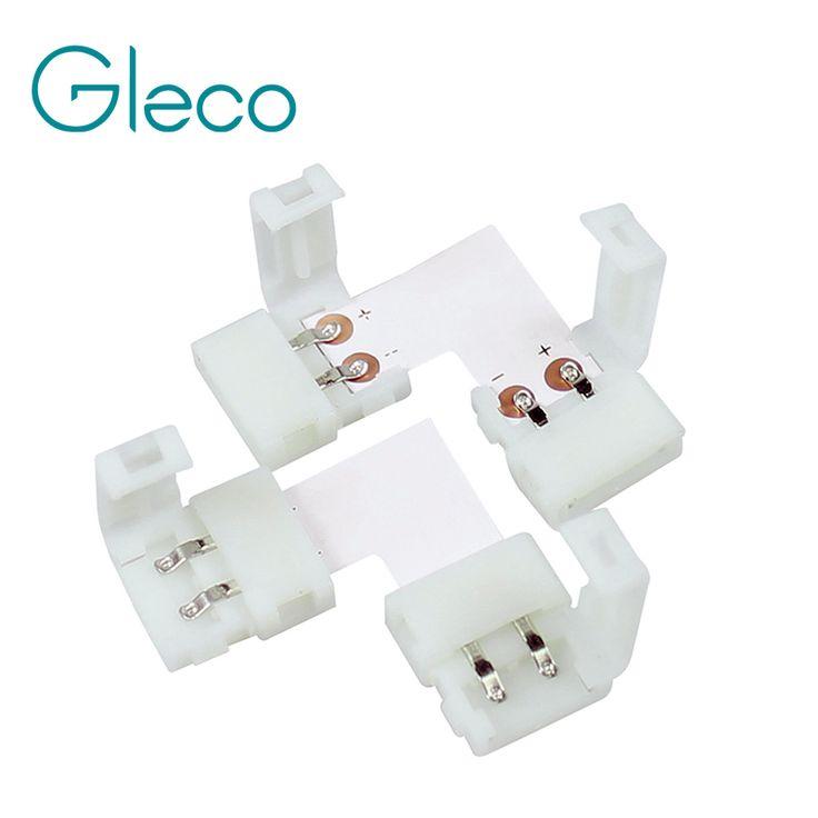 5 PCS/lot, gratis solder 10mm 2pin L bentuk Papan PCB Konektor untuk warna tunggal Strip DIPIMPIN L Bentuk LED Konektor