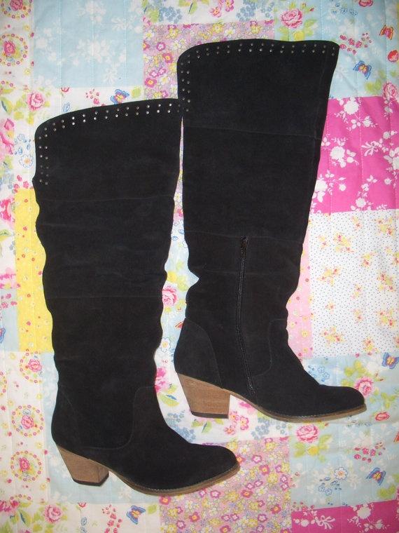 Womens Vintage Black Suede Boots With Stud Detail by Wondarlust, £45.00
