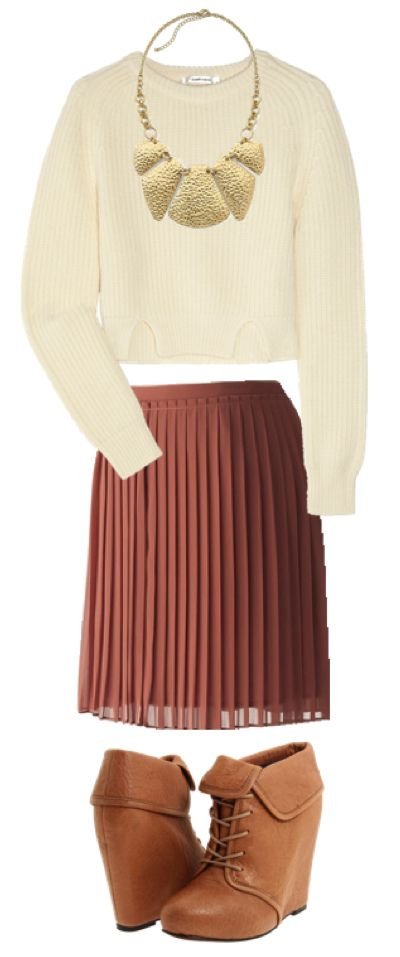 JC Penny necklace, Elizabeth & James booties, Carven sweater, Lauren Conrad pleated chiffon skirt.