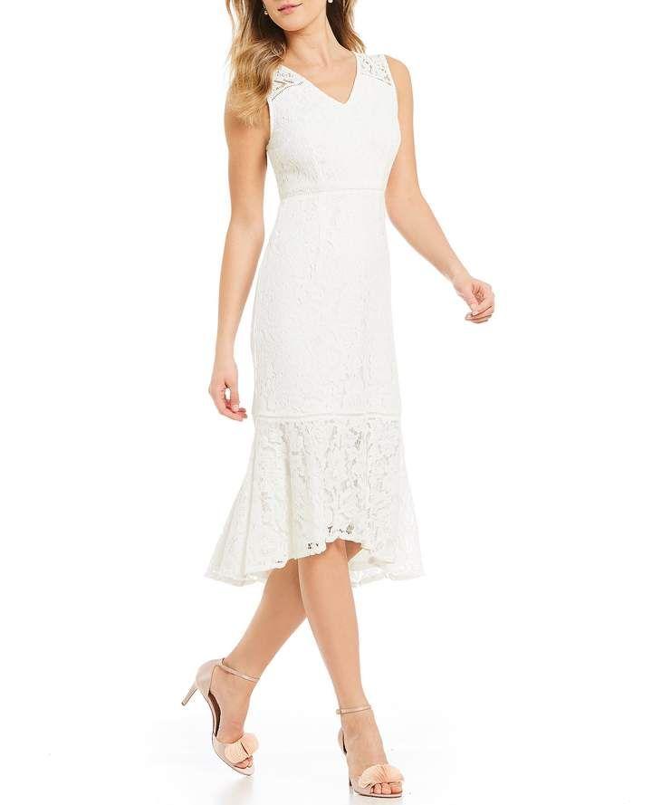 5c9c55452938 Adrianna Papell Lace Flounce Midi Dress #dillards #weddings  #weddinginspiration #bridalshowerideas #ad