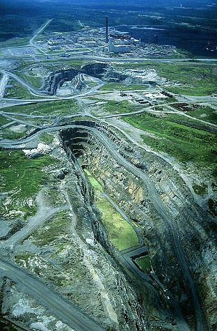 Aerial photo of Nickel Mine, Thompson, Manitoba, MB Canada