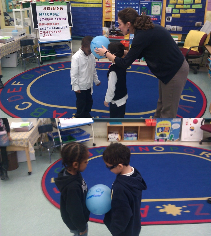 Balloon Relay: A cooperative game to practice working cooperatively and thinking…
