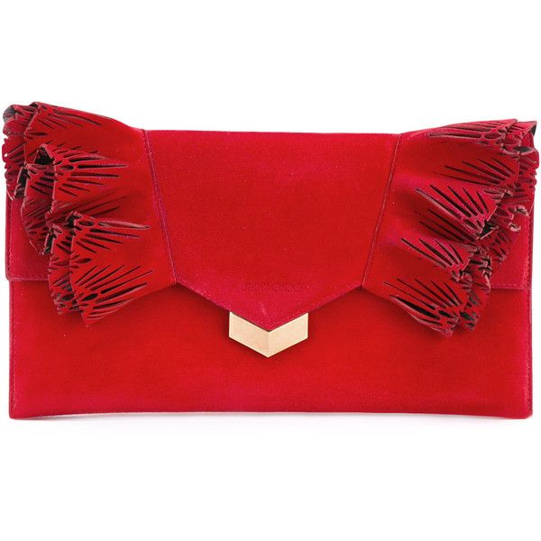 Jimmy Choo Isabella clutch ($830) ❤ liked on Polyvore featuring bags, handbags, clutches, red, jimmy choo, red clutches, red leather purse, envelope clutch bags and leather envelope clutch