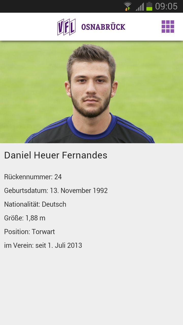 VfL Osnabrück App - Spieler Detailseite Daniel Heuer Fernandes
