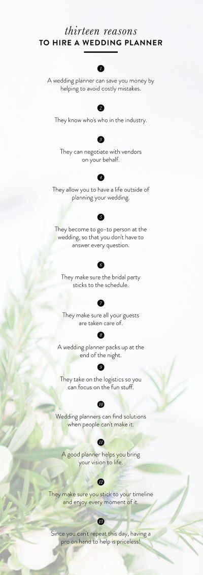 Why you need to hire a wedding planner: http://www.stylemepretty.com/2015/05/08/13-reasons-to-hire-a-wedding-planner/