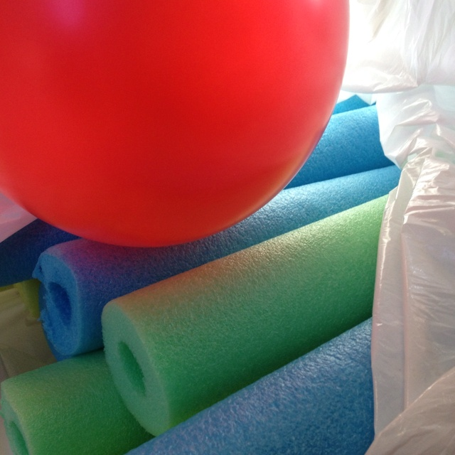 Cut regular pool noodles in 3rds and use them as bats. Bat around a balloon in a circle. Great for residents in nursing homes.