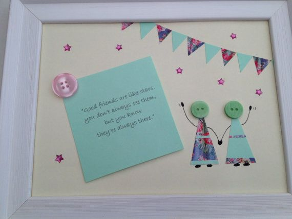 Personalised best friend button picture framed. by HandmadebySpud