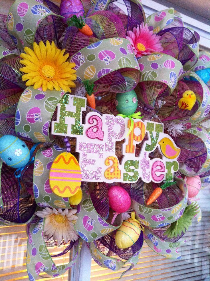 Deco mesh Easter wreath 1