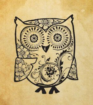 Rubber stamp Owl with ornaments by kadifecraft on Etsy, $6.00