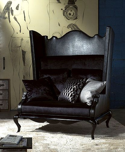 TL FURNITURE   CHIC COUTURE ARMCHAIRS ArtE190 Queen Anne Shaped back and wing detailed armchair sofa and bed.