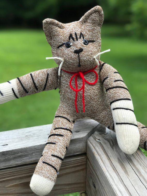 Handcrafted Sock Monkey Tabby Cat