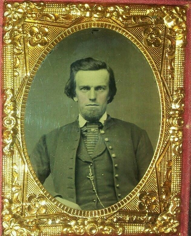 A super rare nineth plate, ruby ambrotype of Lieutenant Beckett K. Howell. One of only 58 appointed officers in the Confederate States Marine Corps, and brother-in-law to President of the Confederacy, Jefferson Davis. (Continued in comments.)
