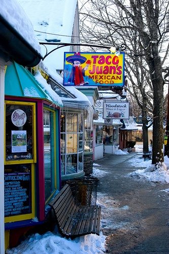 Woodstock, NY. A fun little town with great food and shops. Could you expect anything else? You'll always find local hippies hangin' out! F-U-N!