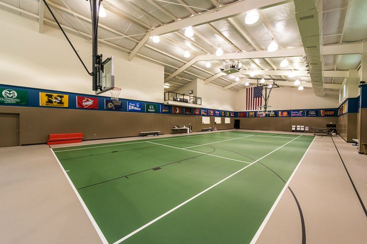 Indoor tennis court basketball home ideas pinterest for How many square feet is a basketball court