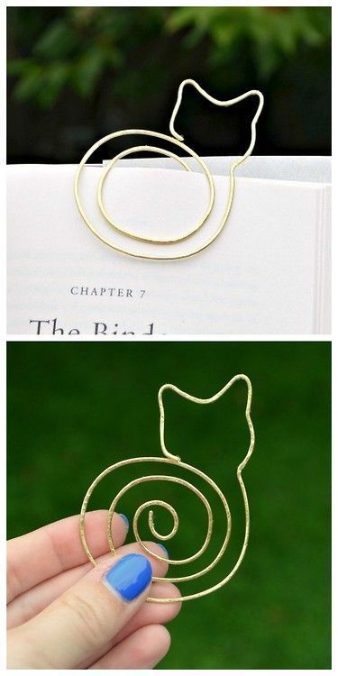 DIY Cat Bookmark Tutorial from One Artsy Mama. Since you are using soft wire this should be quite easy to bend and hammer depending on the l...