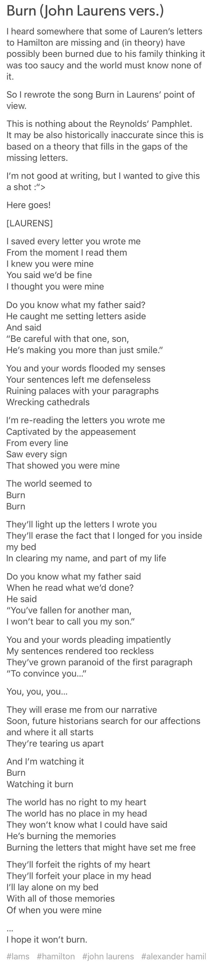 """Burn"" John Laurens Version.  OH MY GOD ITS SI BEAUTIFUL I LIVE IT SO MUCH"