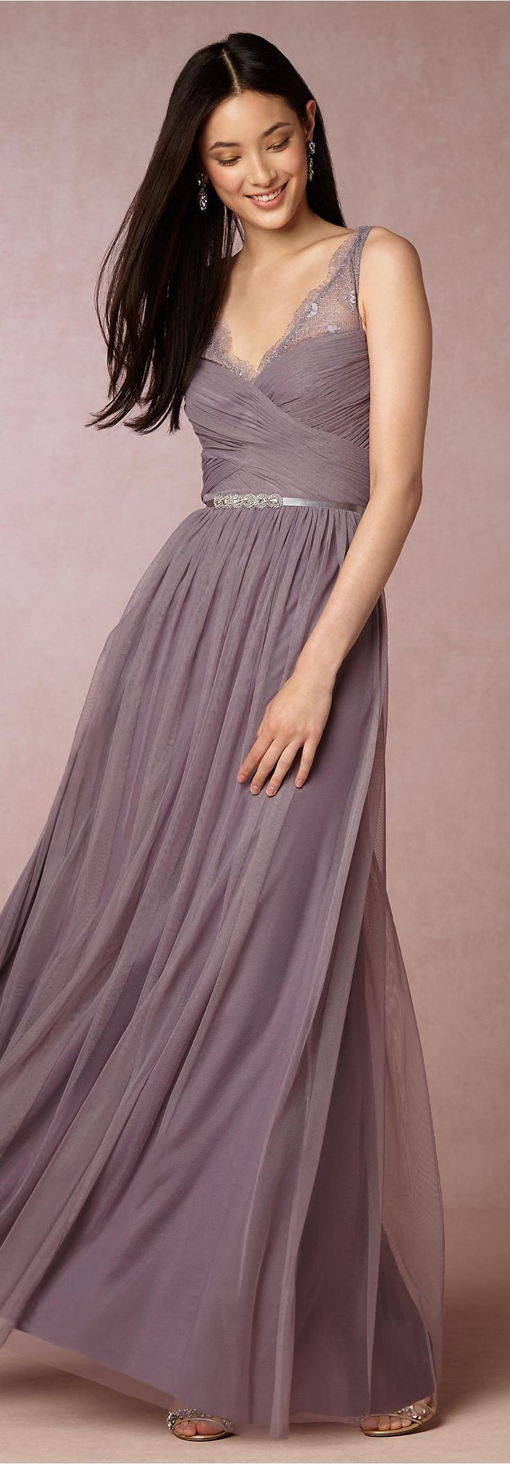 BHLDN Bridesmaid Dress Fall 2016 | Floor Purple Sheath V-Neck $$$ ($251-350)