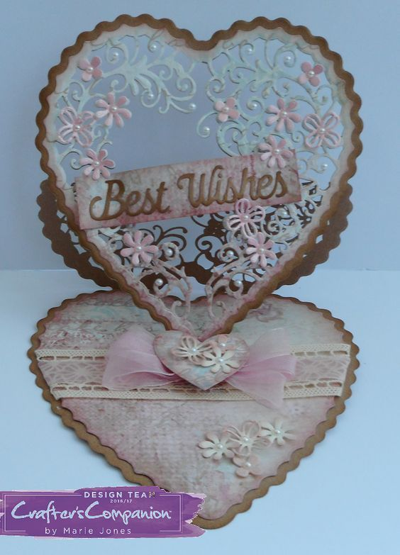 Easel Card Created using Crafter's Companion Die'sire Create-A-Card Heart Easel die. Designed by Marie Jones #crafterscompanion #ccgemini