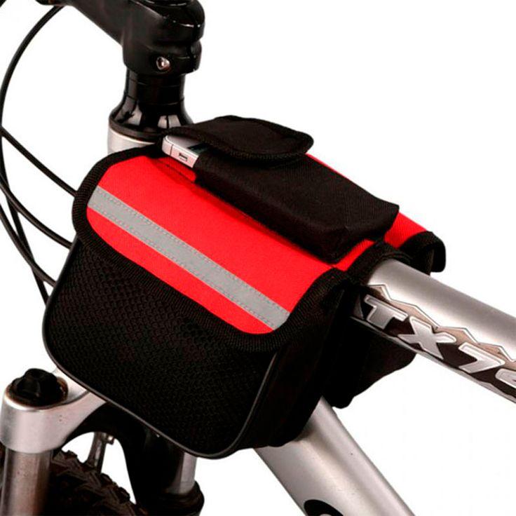 Mochila bolsa impermeable universal de bicicleta color rojo #Soporte #Bolsa #Bicicleta #Paseo #Regalo #México #ciclismo