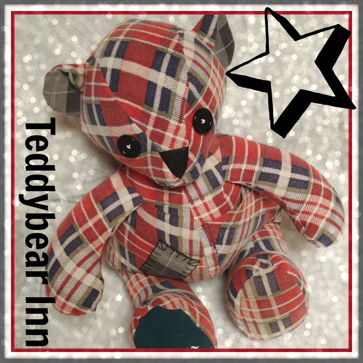Memory Bear created from the flannelette shirt of a very loved and missed grandfather.