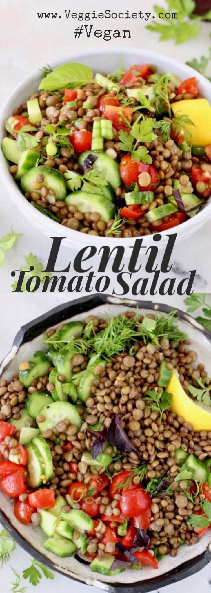 Cucumber Tomato Lentil Salad Recipe with Lemon Dressing, Dill, Basil and Parsley. Easy, Healthy, Vegan   VeggieSociety.com ⭐️ ⭐️ ⭐️ ⭐️ ⭐️ #vegan #plantbased #lentils