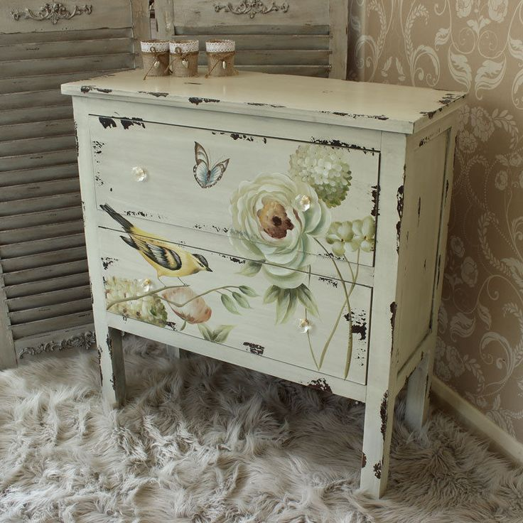botanical cream floral chest 2 drawers bedroom furniture butterflies flowers - Bedroom Furniture Chest