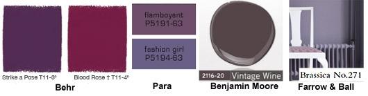 Paint trends - Purple: Paintings Trends, Rooms Inspiration, Paintings Colors, Colors Unsorted, Rainbows Palettes, Colors Palettes, Master Bedrooms, Home Decor