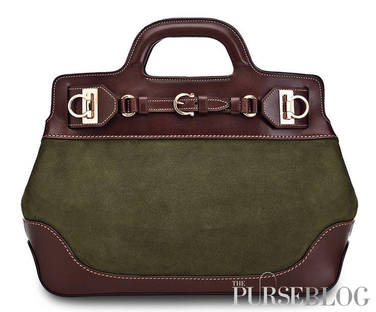 Ferragamo-W-Bag. brown and green