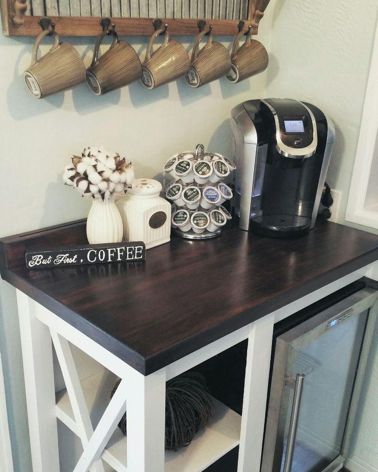 Farmhouse Coffee Bar with Mini Fridge coffee sign