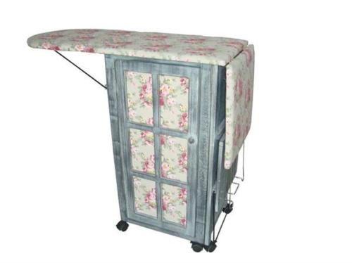 Victorian-Chintz-Dove-Grey-Laundry-Room-Ironing-Board-Storage-Cart-Station