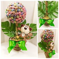 JUMBO Jungle Safari Inspired Centerpiece, Lollipop Topiary, Candy Topiaries, Safari Party Theme, Monkey Party Theme, DumDum Lollipop Topiary