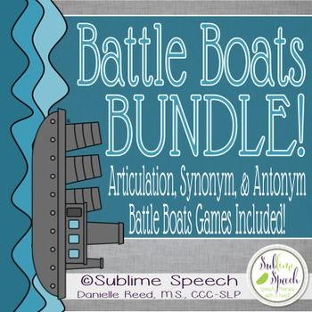 A favorite set of speech and language materials in one bundle!  Included are:Articulation Battle BoatsSynonym Battle BoatsAntonym Battle Boats*Note: Picture cues are included in the Articulation Battle Boats but are not included in the Synonyms/Antonyms Battle Boats.