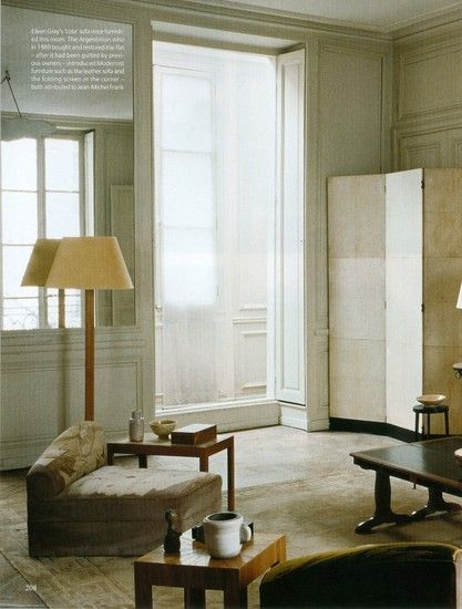 This apartment on the Rue de Lota in Paris was decorated by Eileen Gray with all of her self-designed and made furniture between 1917 and 1921.