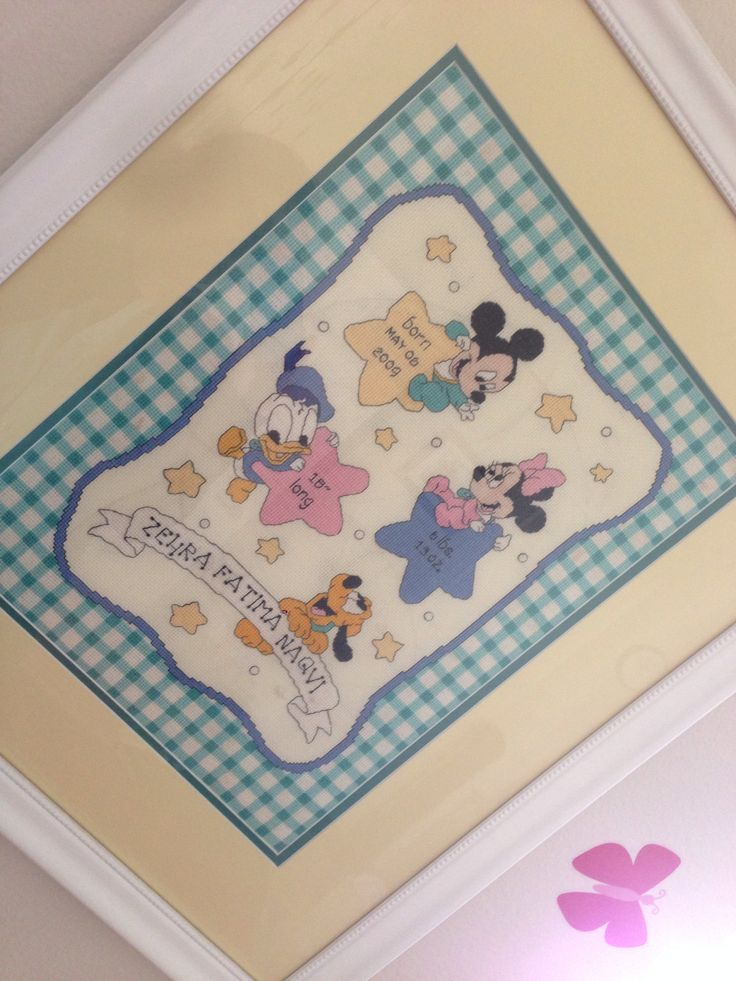 Cross Stitch, needlework, X-stitch, Disney, Baby Mickey Mouse, Baby Minnie Mouse, Baby Donald, Baby Goofy, Birth Announcement
