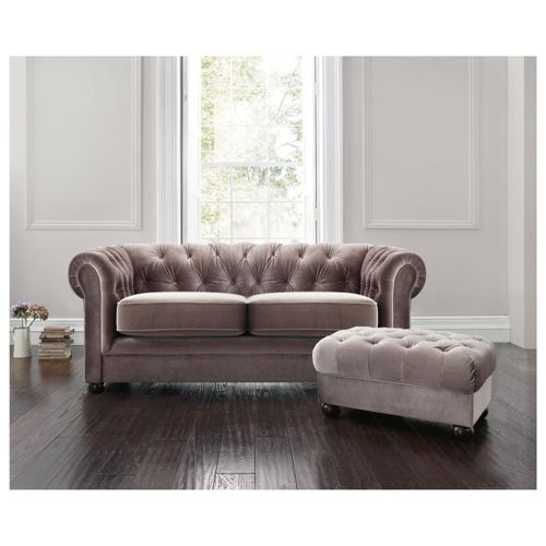 Buy Chesterfield Velvet Effect Small Sofa Mink From Our All Sofas Range At Tesco Direct