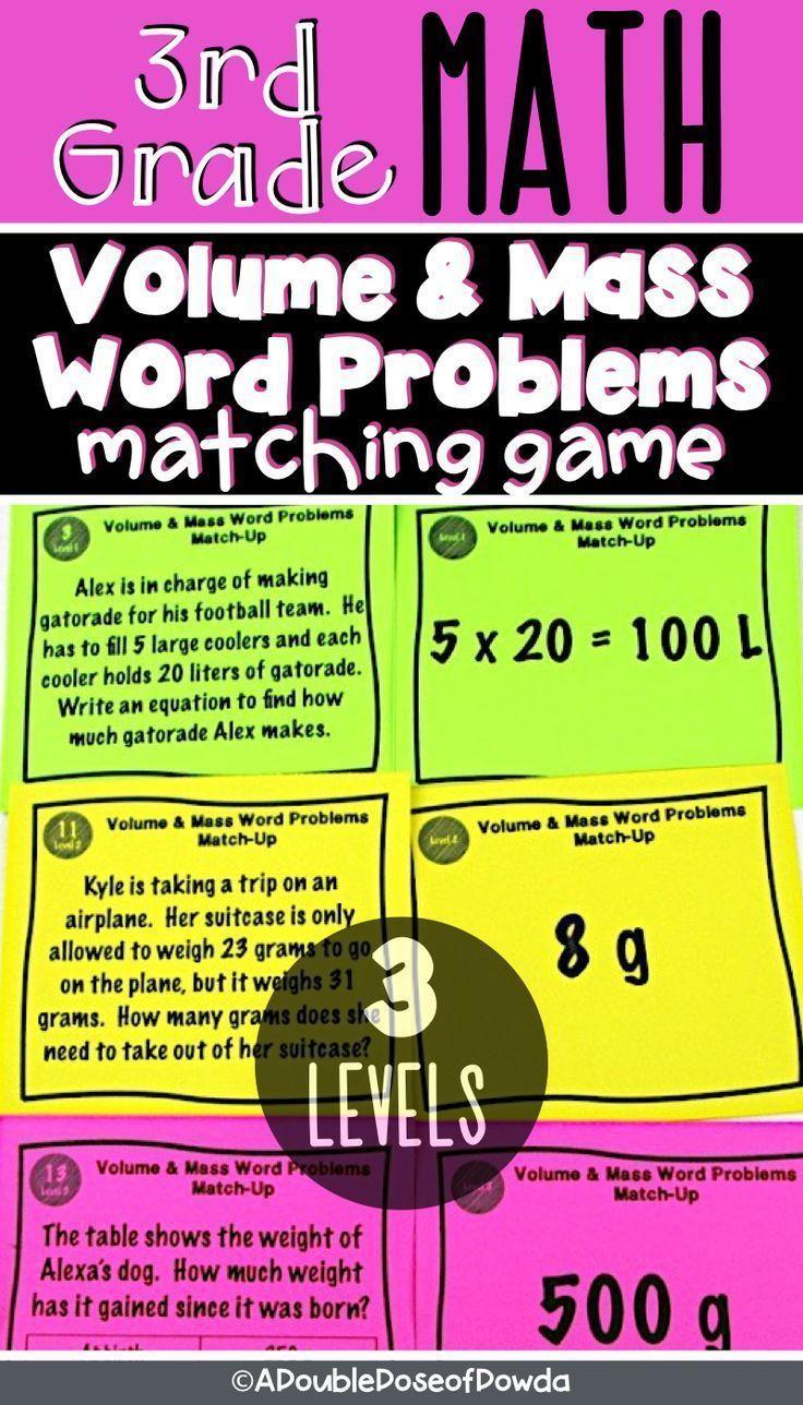 Grams Kilograms Liters Milliliters Metric Word Problem Matching Activities  Game   Word problems [ 1288 x 736 Pixel ]